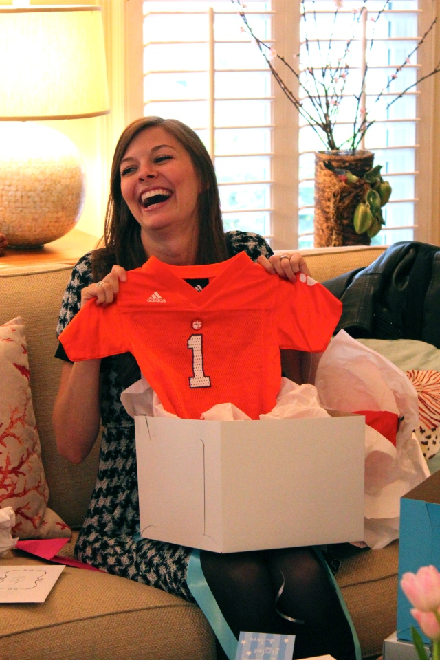 Baby Harper getting his first Clemson gear from Nanny & Papa Fincher
