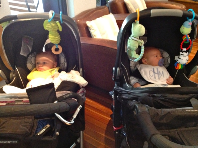 Mailey & Colt. Car-seat twins.