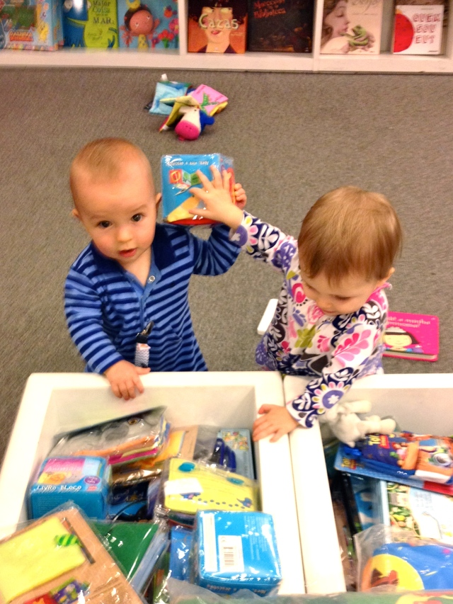 Colt & Mailey - play date at the mall library!