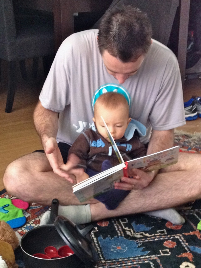Reading with Dad.