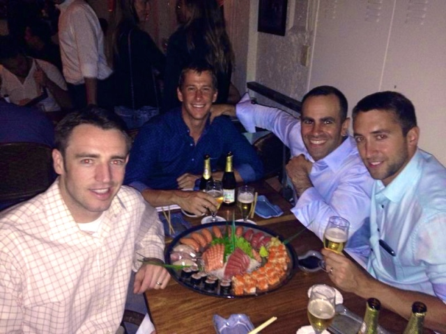 The boys out for sushi!