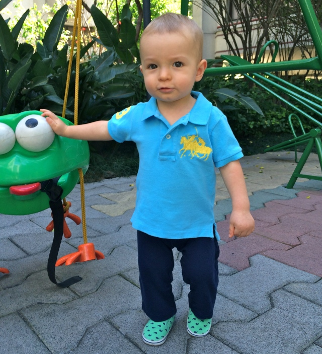 The frog's eyes are his fav.