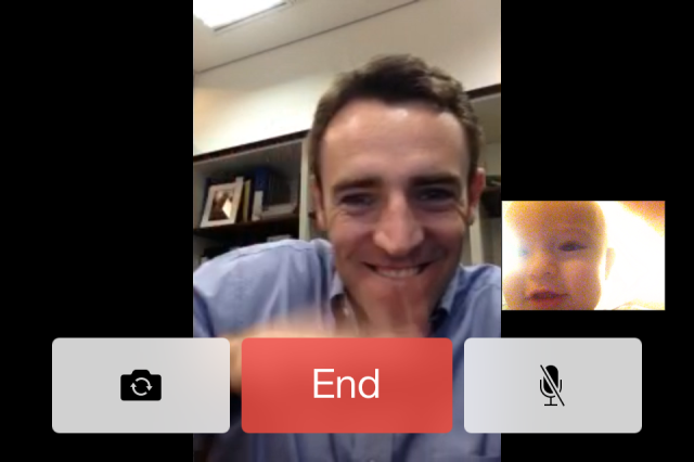 Colt facetiming with Michael at the office, and somehow he figured out how to take a screenshot of the moment! I love it.