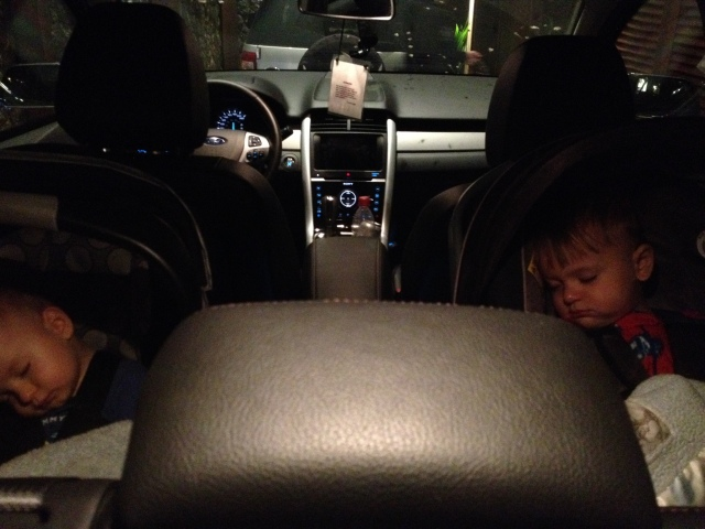 Colt and Jack sleeping like champs as Michelle and I pulled up to the beach house Friday night.