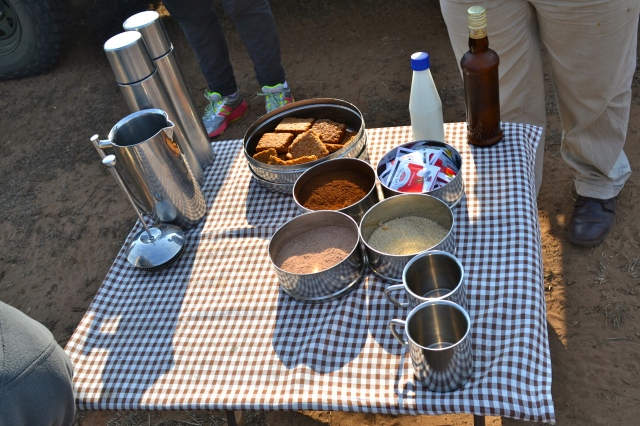Sunrise set-up: coffee, tea and hot chocolate, homemade granola bars, and a little local Amarula for a morning kick in your coffee.