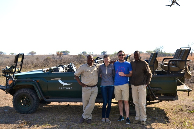 Heading out with our ranger, Dumi, and our tracker, Tulani!