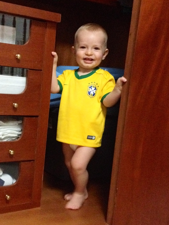 Striking a pose in his Brazil jersey.