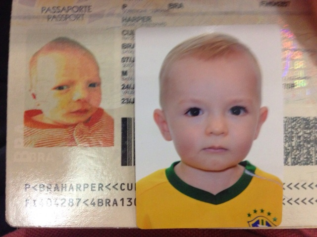 Oh the difference a year can make. Updating his Brazilian passport.
