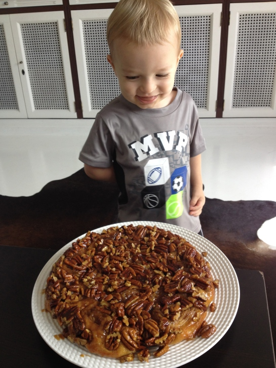 Colt is pretty interested in the sticky buns too!