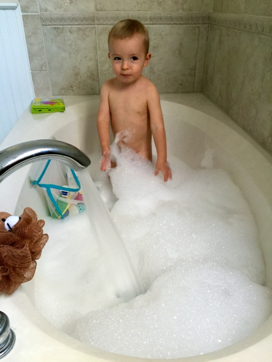 Big bubble bath. Much more fun than the kitchen-sink baths we do at home.