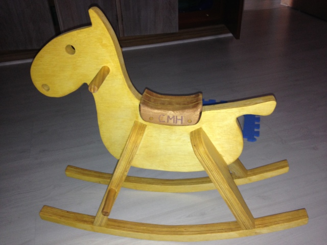 "The ""rocking colt"" that Michael and Trent made Colt - finally finished! And Colt loves it!"