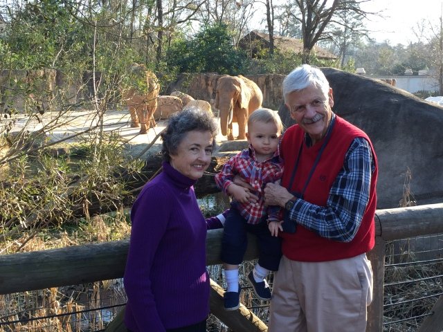 Colt with his great grandparents in front of the elephants.