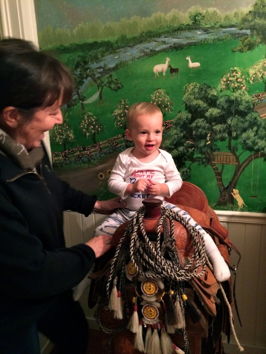 Getting all saddled up with Nana!