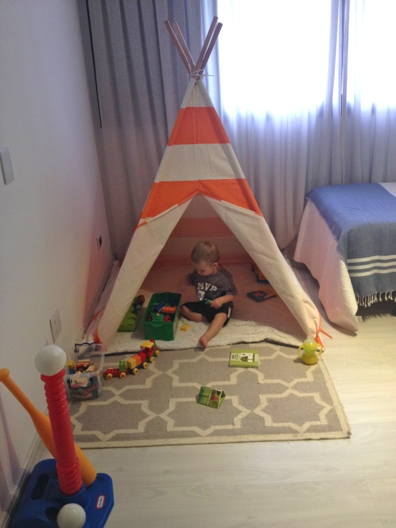 Colt's teepee set up in the guest room / his play room.