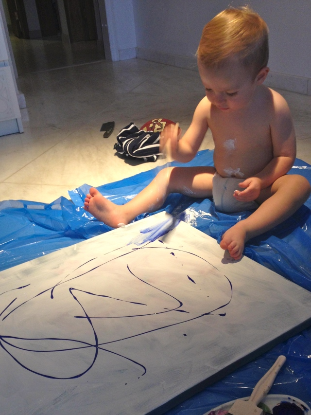 Painting at home with Mom!