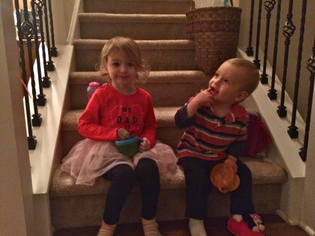 Sitting on the stairs just being cute together.