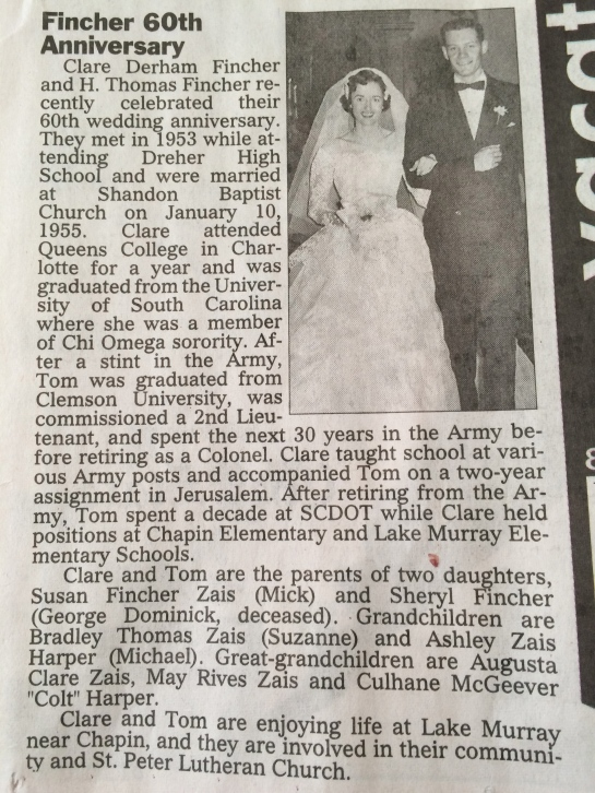Announcement in the paper with their wedding picture from 60 years ago!