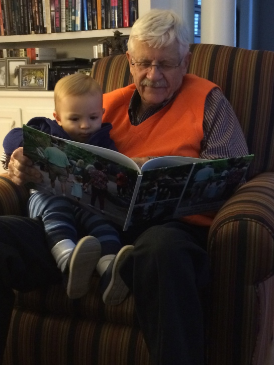 Reading with Papa.