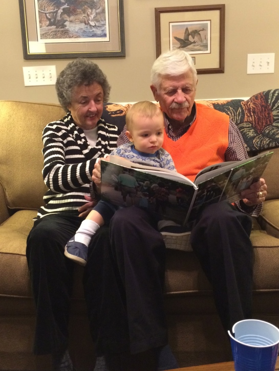 "His favorite book, ""Augusta Clare goes to the zoo with her great grandparents."""