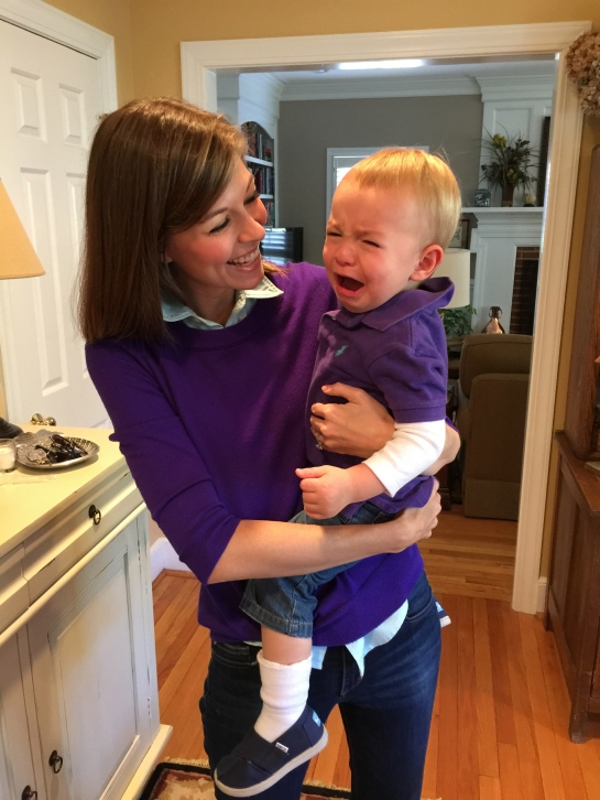 Colt was NOT excited to be dressed the same as his mom.