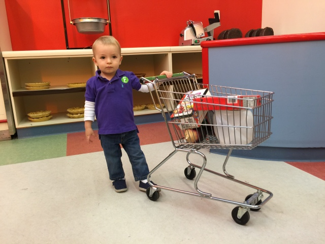 Outing at the children's' museum in Columbia. Colt loved shopping for groceries.
