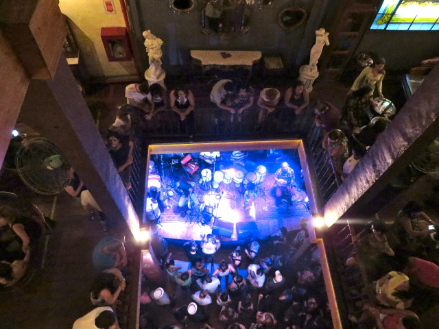View down to the band from the 3rd floor.