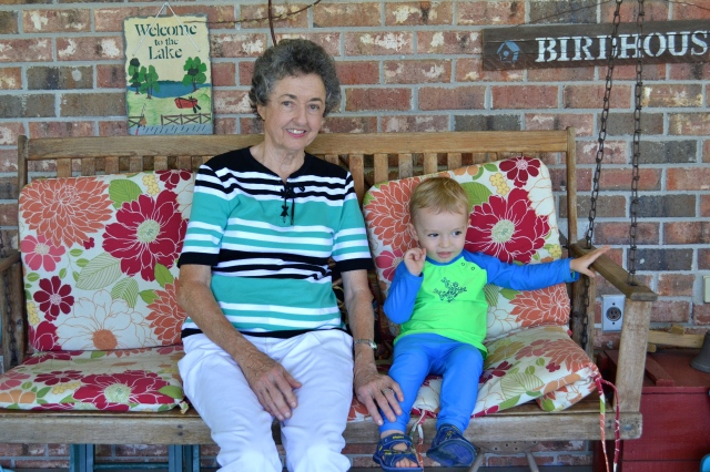 Nanny and Colt, back porch swinging.