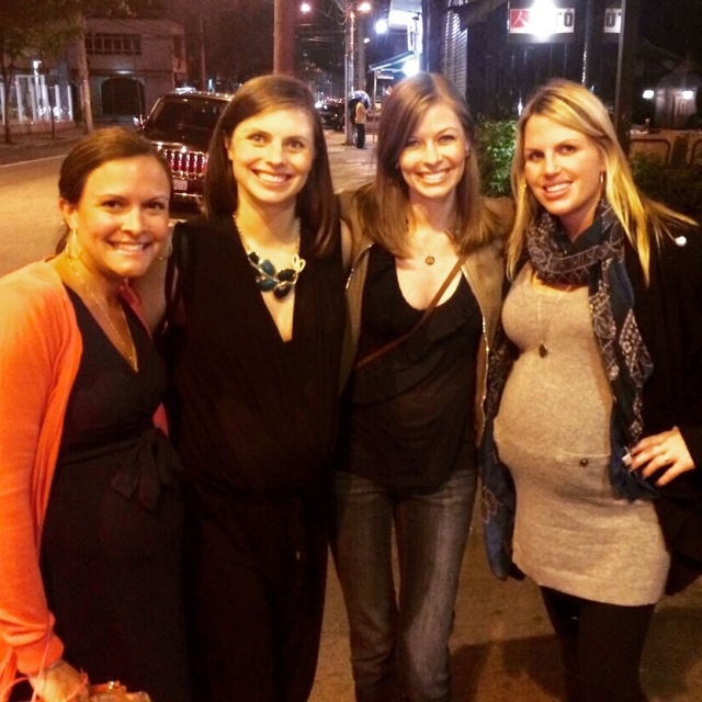 4 pregnant girls after dinner. Crazy that 2 of them have already delivered!