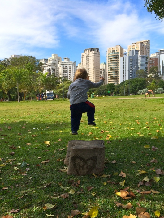 Leaping off tree-stumps at the park.