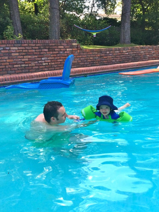 Swimming lessons with Dad.