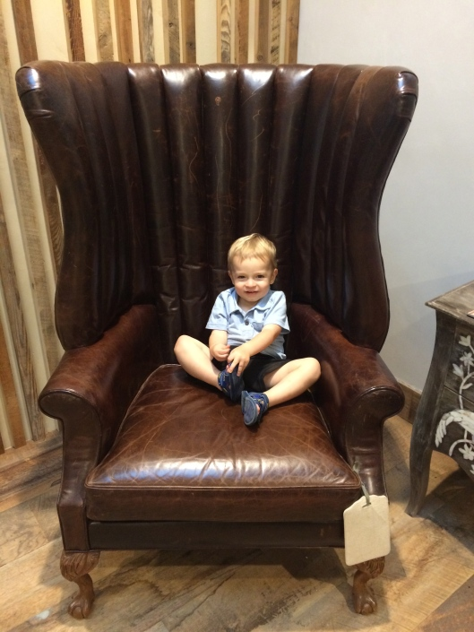 Sitting pretty in Anthros chairs while Mama tried on clothes.