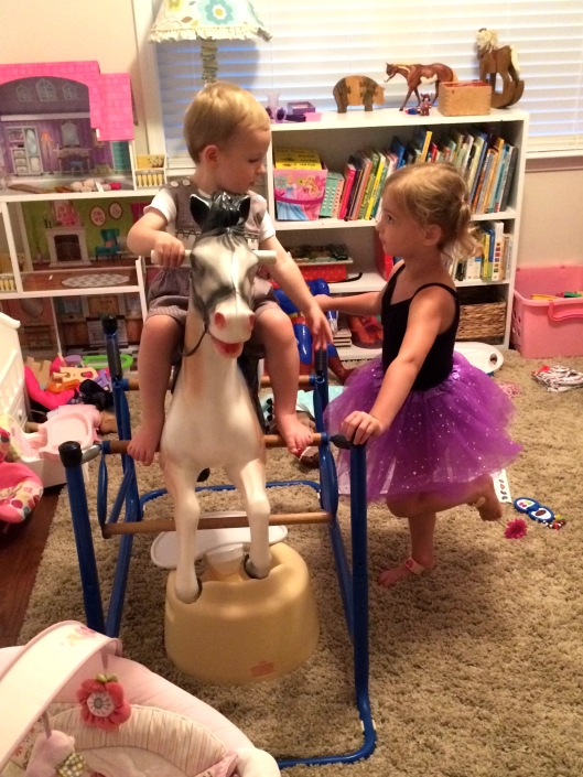 Colt and AC in her playroom.