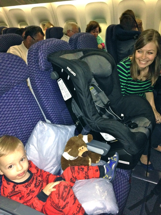 Colt making himself comfortable as we get set up on the plane.
