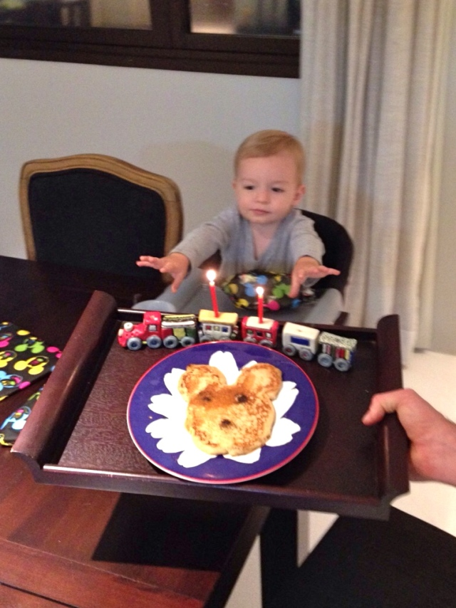 Mickey Mouse pancake coming to the eager birthday boy!