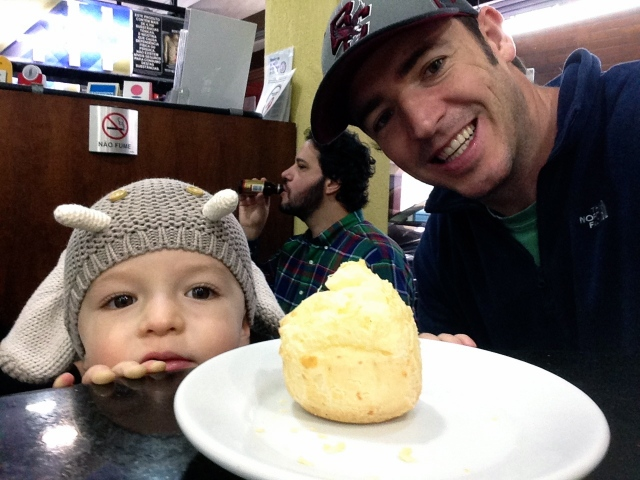 Out with Dad to the paderia for some pão de queijo!