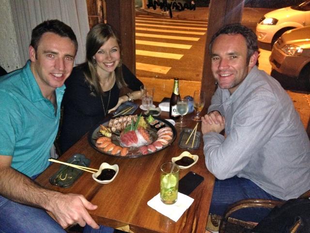 Family sushi dinner.