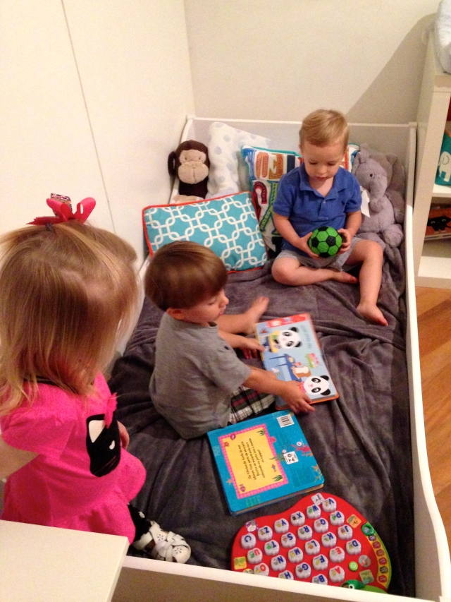 Mailey, Jack and Colt playing on Jack's new big-boy bed!