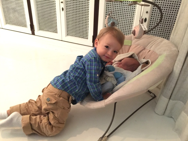 Colt forcing some snuggle time on Finn.