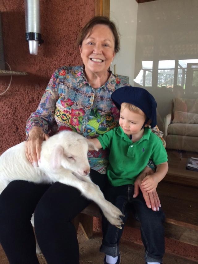 Petting Nanny the goat.