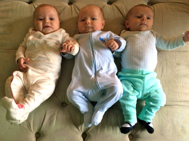 Coralie, Finn & Finley. Finn has serious game.